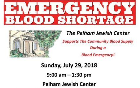 Pelham Jewish Center holds emergency blood drive tomorrow