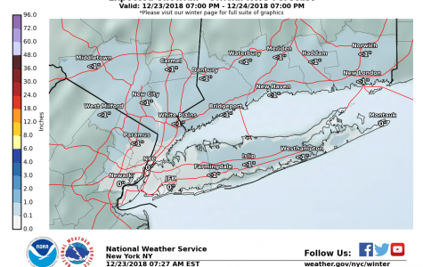 NWS forecasting chance of snow of less than an inch tonight through 7 p.m. on Christmas Eve