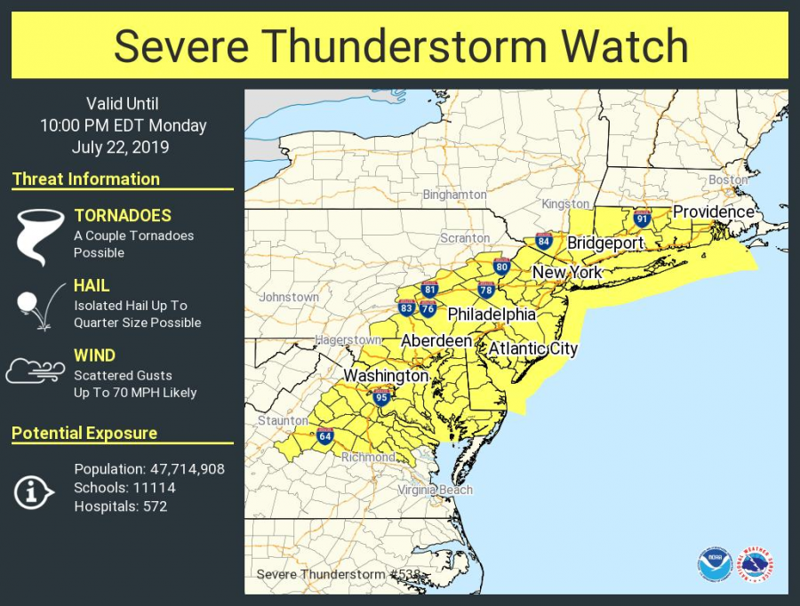 National Weather Service issues severe thunderstorm watch—with 'a couple of tornadoes' possible