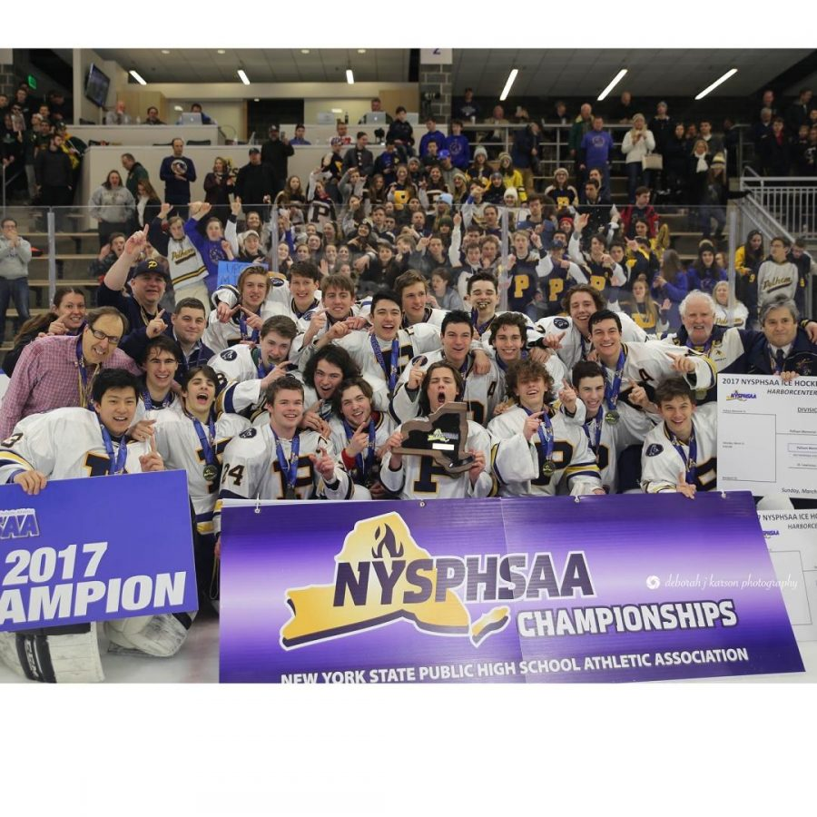 The+PMHS+2017+state+championship+ice+hockey+team%2C+with+Benjamin+Hurd+dead+center+with+the+medal+around+his+neck.