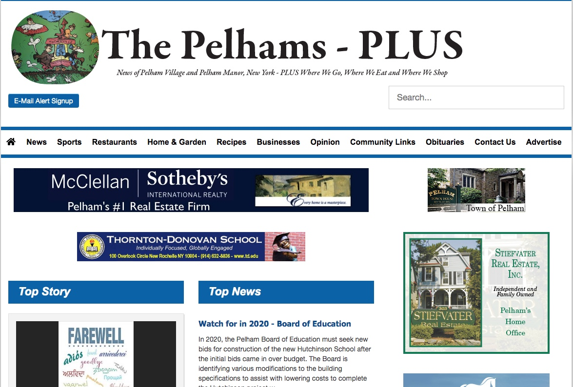 The Pelhams-PLUS website, which continued after the Pelham Weekly closed, stopped publication Dec. 31.