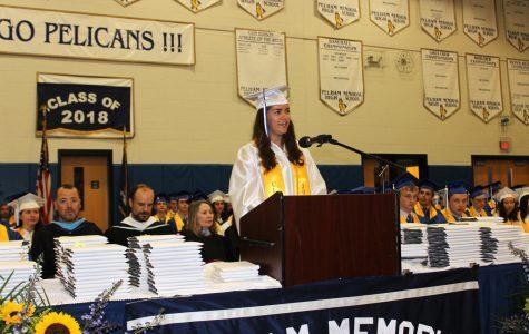 Senior Class President Eva Perez delivers her speech,