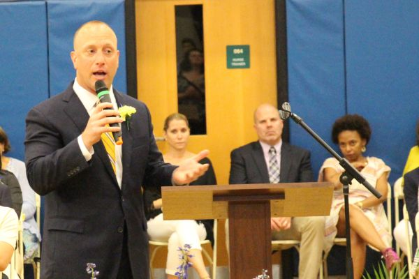 Dr. Robert Roelle spoke at Pelham Middle School's 2017 graduation.