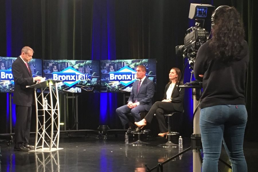 On the set of BronxNet, Moderator Gary Axelbank (l.) put questions to State Senator Jeff Klein and Democratic primary challenger Alessandra Biaggi.