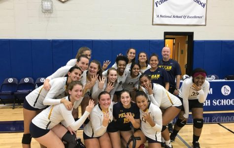 The Pelicans congratulate Coach Mark Finegan on his 400th career victory following the team's win over Yorktown.