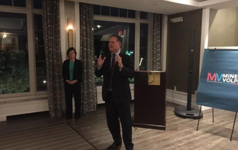 Pelham Mayor Michael Volpe spoke at the New York Athletic Clubabout his campaign for lieutenant governor. Behind him, Stephanie Miner, SAM party candidate for governor.