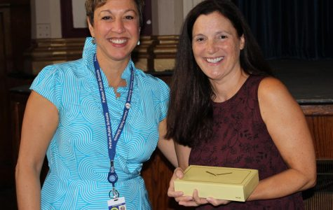 Prospect Hill teacher Linda O'Meara with Superintendent of Schools Dr. Cheryl Champ