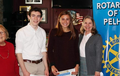 Left to right: Rotary President Lyn Roth-Jacobs, Rotary Scholars Ben Glickman and Charlotte Edmunds and PMHS Principal Jeannine Clark