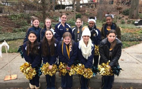 The winter cheerleaders at the Pelham 10K.