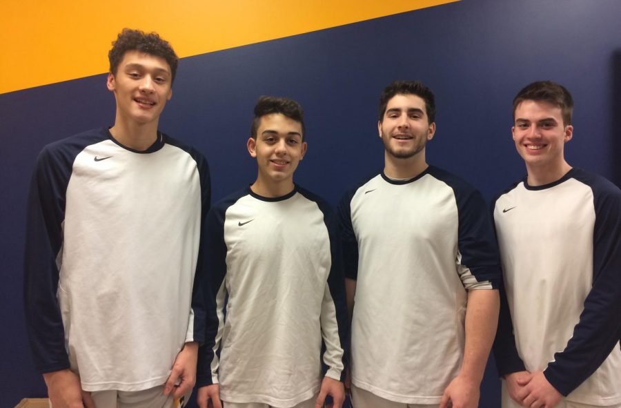 Current and former PMHS varsity basketball players Carlo Volpe, Stefano Grammatica, Kevin Coleman and James Carey.