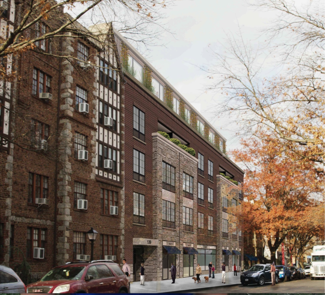 As submitted in April, rendered in center is the 34-apartment, six-story building Pelham RE Partners LLC proposed for 139 Fifth Avenue.