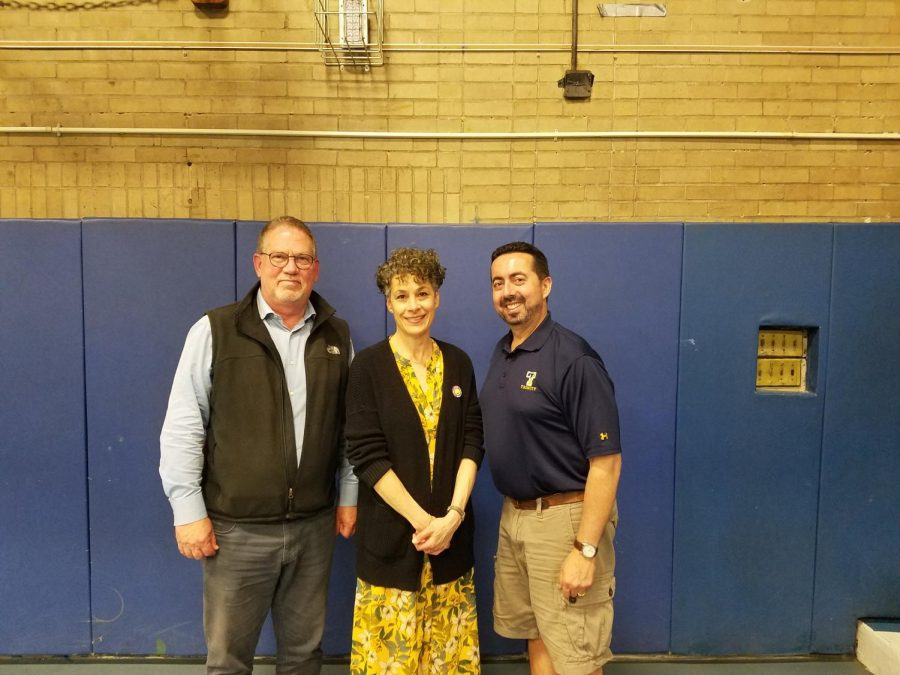 From left, John Brice, Leah Tahbaz and Vincent Mazzaro in the PMHS gym after they were elected to three-year terms on the Board of Education.