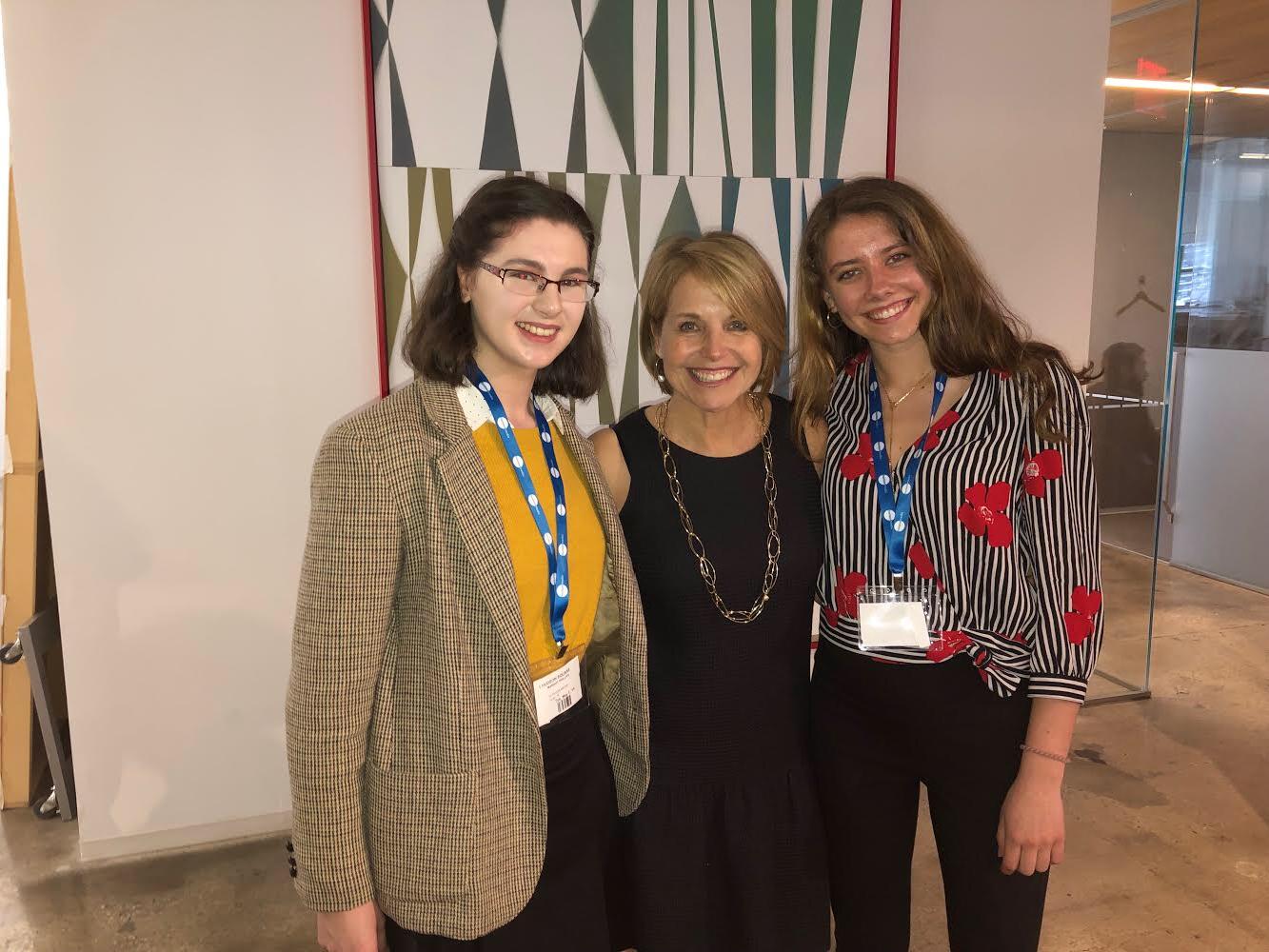 From left, Pelham Examiner  Literary Editor Margot Phillips, Katie Couric and Pelham Examiner Assistant Managing Editor Charlotte Howard.