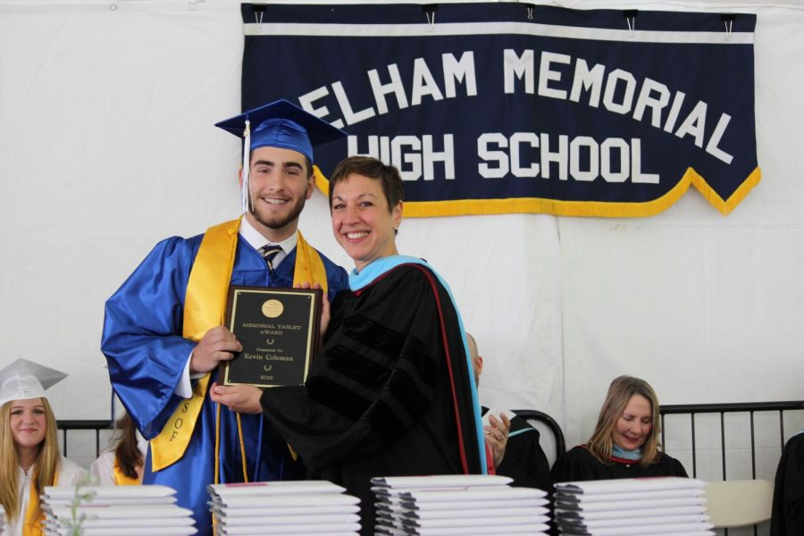 Kevin Coleman was awarded the Memorial Tablet by Superintendent Cheryl Champ.