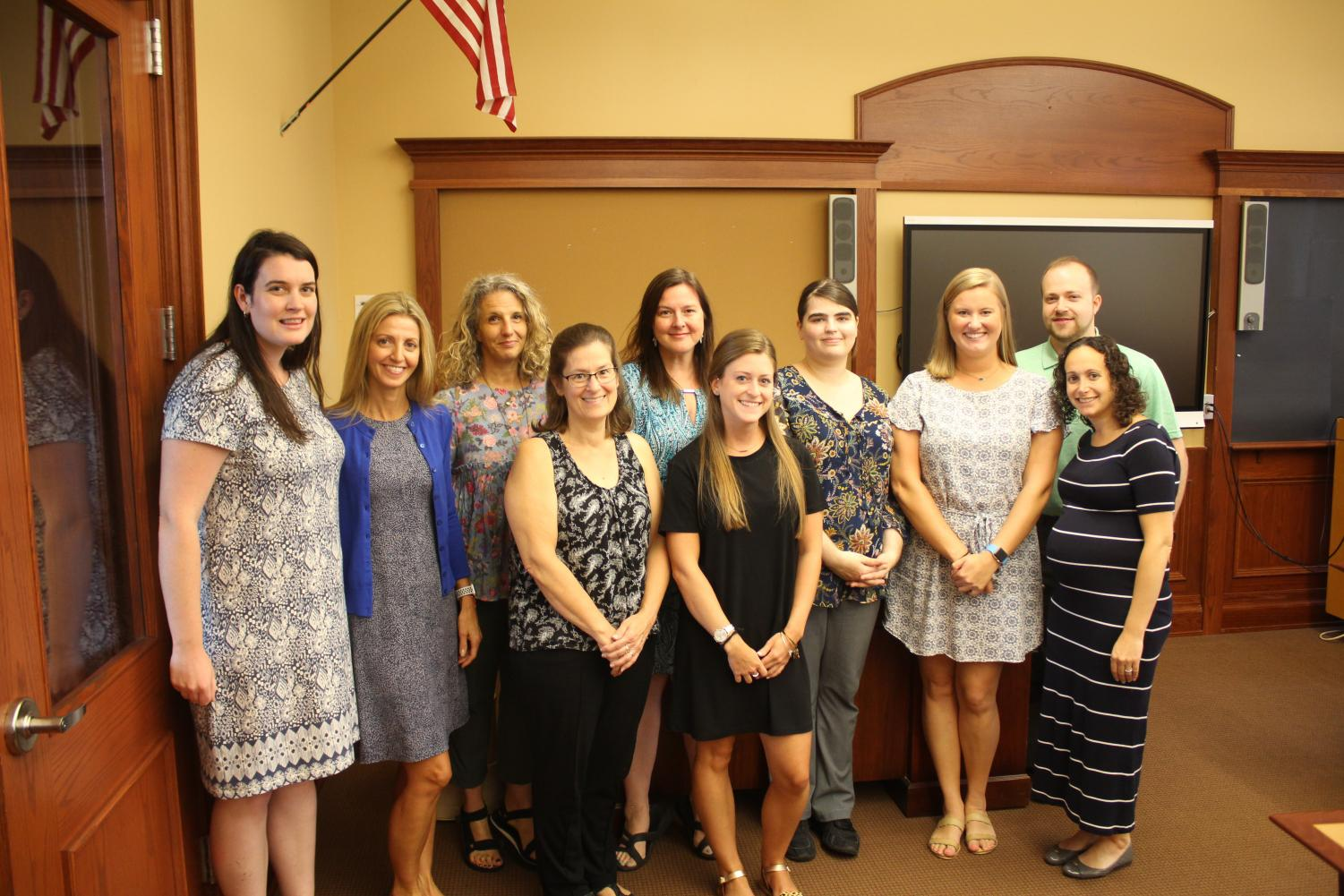 New teachers left to right: Mary Brennan (Pelham Middle School math/technology), Rosemarie Cipollone (district-wide ENL), Lori Amer (PMS art), Vicky School Mendez (Colonial Kindergarten), Dana Diersen Buehrer (Prospect Hill first grade), Lauren Vaas (Hutchinson Kindergarten), Elizabeth Klippert (Pelham Memorial High School math), Sennett Cooke (Siwanoy first grade), Andrew Dolgon (elementary band) and Ilana Sitkoff (Colonial psychologist). Photos were taken during the annual two-day orientation for new staff held Aug. 28-29.