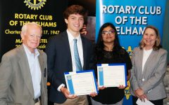 From left, Pelham Rotary President Marty Ketels, Scholars of the Month Lance Brady and Asher Lal, and PMHS Principal Jeannine Clark.