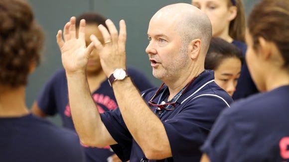Coach Finegan of girls varsity volleyball receives Margot Irish Award