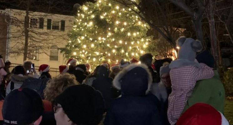 Pelham holiday tree lit Saturday with songs, cookies, singing and Santa