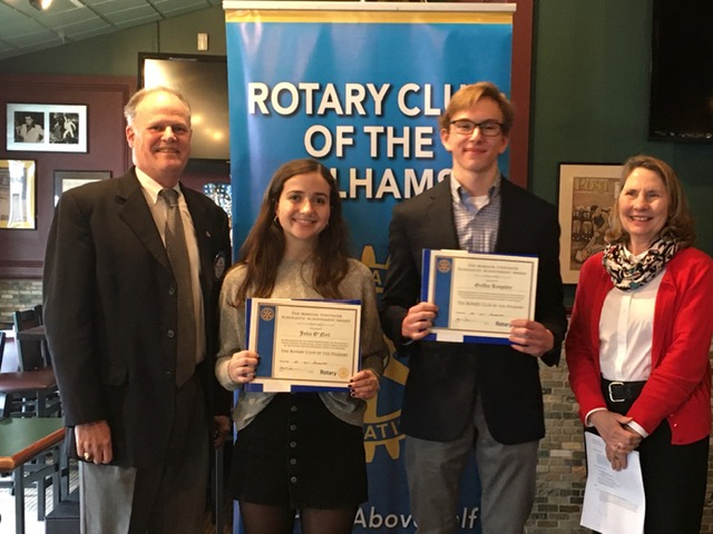 From left, Rotary Vice President Bob Dawson, Scholars of the Month Julia O