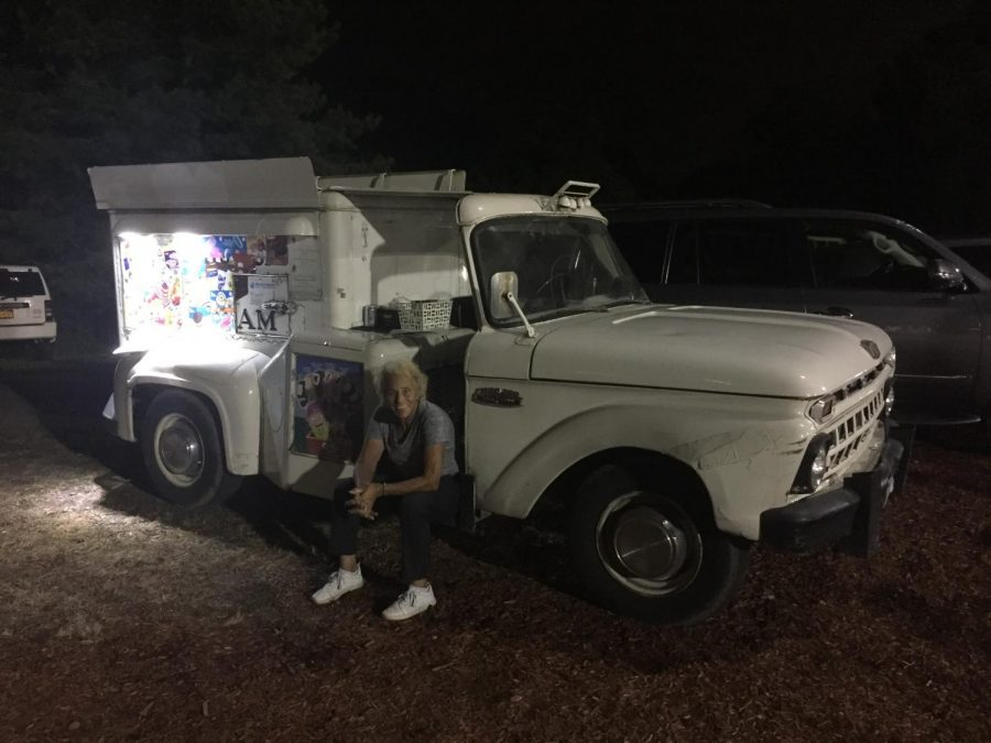 Nancy Romm and her truck at Glover Field in fall 2018.