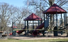 The jungle gym at Prospect Hill playground wrapped in police tape.
