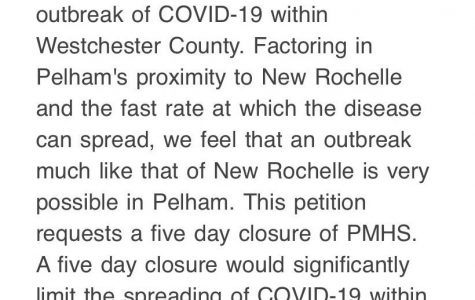 PMHS students receive petition calling for five-day school closure because of New Rochelle COVID-19 containment zone