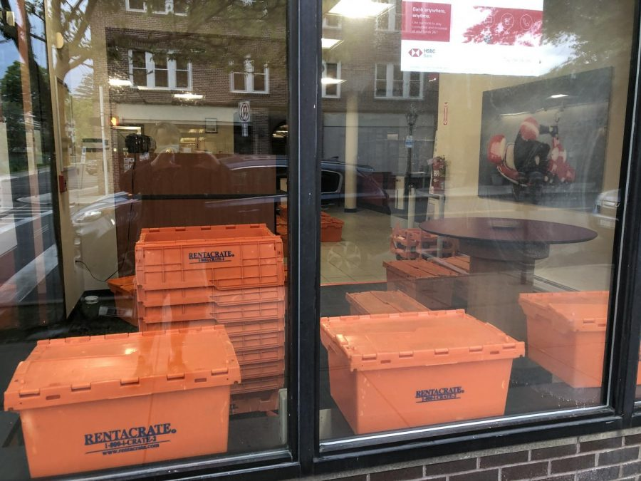 Packing crates sat in the former HSBC Bank earlier this month.