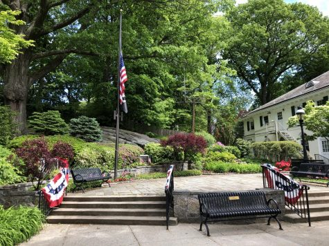The park prepared for the  Memorial Day ceremony.
