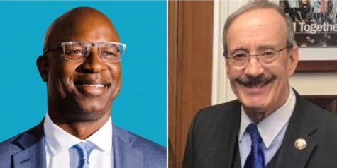 Jamaal Bowman (left) and Rep. Eliot Engel.