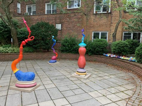 "Part of the installation ""A Short Story"" of Don Porcaro's sculptures now on view in the Pelham Art Center courtyard."