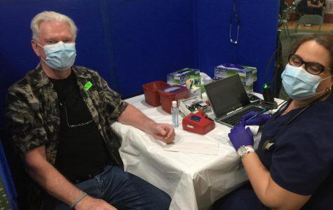 Joe Durnin of Pelham donates blood.