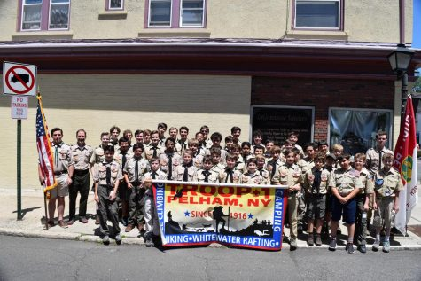 Pelham Scouts Troop 1 during Memorial Day 2019 commemorations.