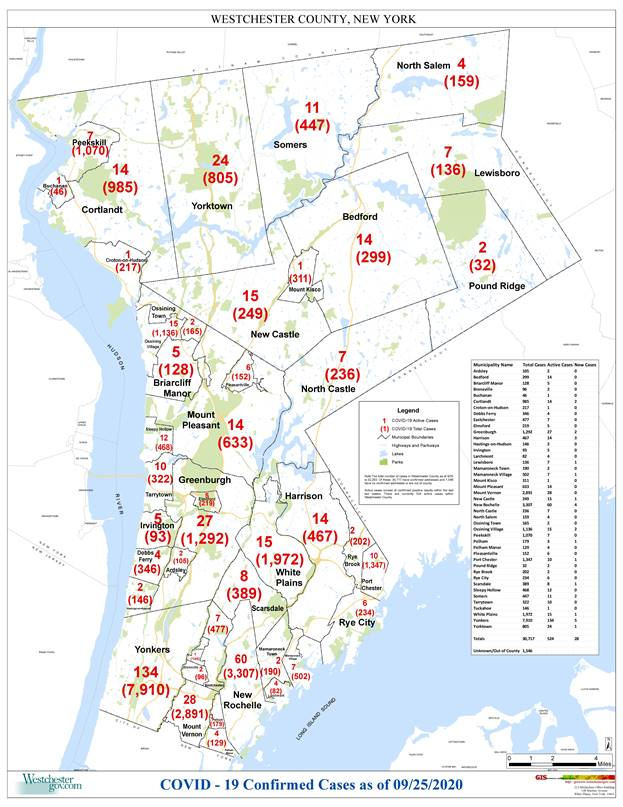Westchester reports Covid-19 cases by municipality: Pelham Manor 129, Pelham 179