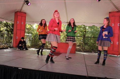 """Caitlin Winston as Veronica Sawyer, Charlotte Moore as Heather Chandler, Allison Feldman as Heather Duke, Katy Lange as Heather McNamara and Oliver Tam as J.D. in November 2020 SOOP outdoor production of """"Heathers"""" that was then streamed."""