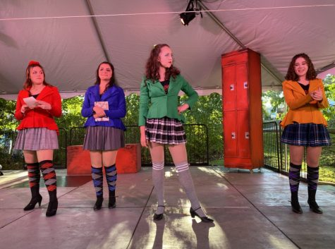 "Vanessa Rosado as Veronica Sawyer, Ava Pedorella as Heather Chandler, Allison Feldman as Heather Duke and Ava Pursel as Heather McNamara (cast 2) in November SOOP outdoor production of ""Heathers"" that was then streamed."