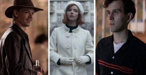 (Left to right) Thomas Brodie-Sangster as Benny Watts, Anya Taylor-Joy as Beth Harmon, and Harry Melling as Harry Beltik