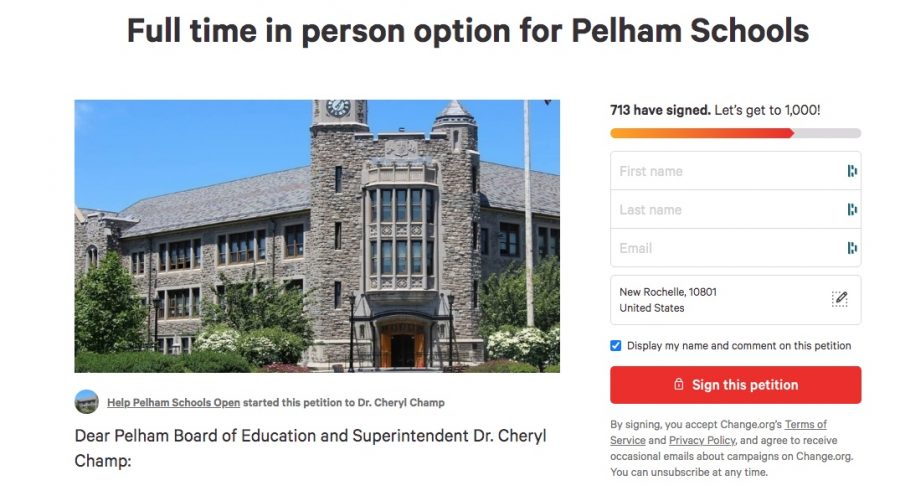 The online petition calling for Pelham schools to reopen for full-time, in-person learning.