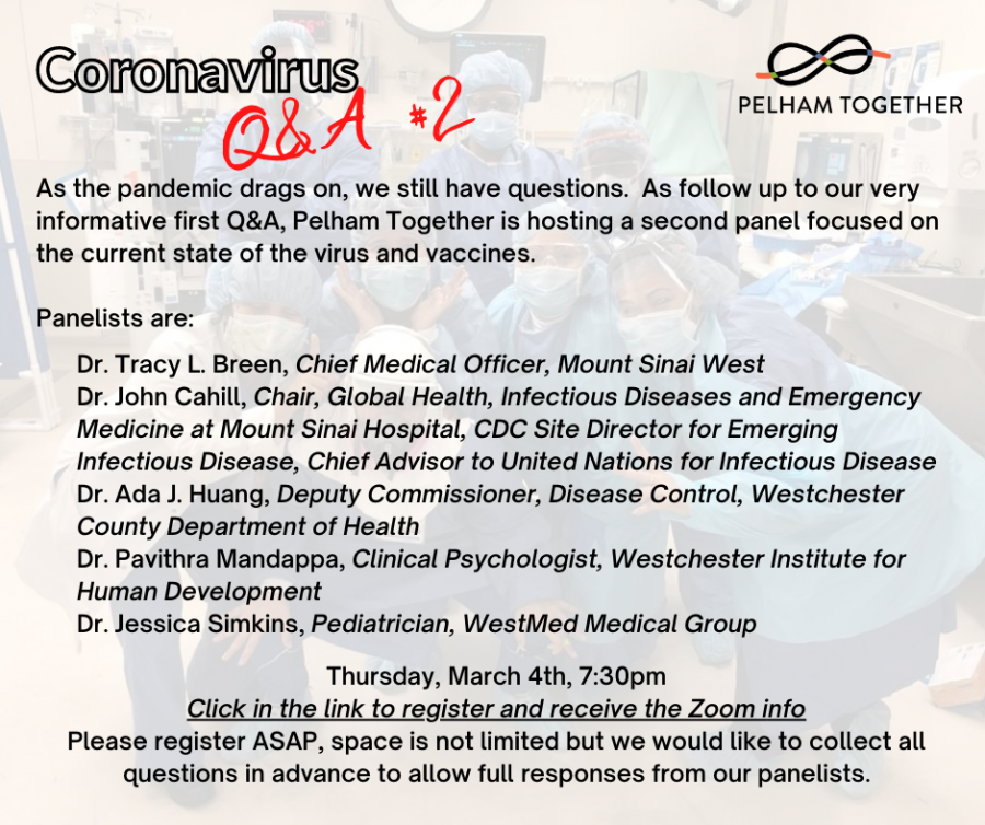 Medical+experts+to+answer+questions+on+coronavirus+and+vaccines+at+Pelham+Together%27s+March+4+event