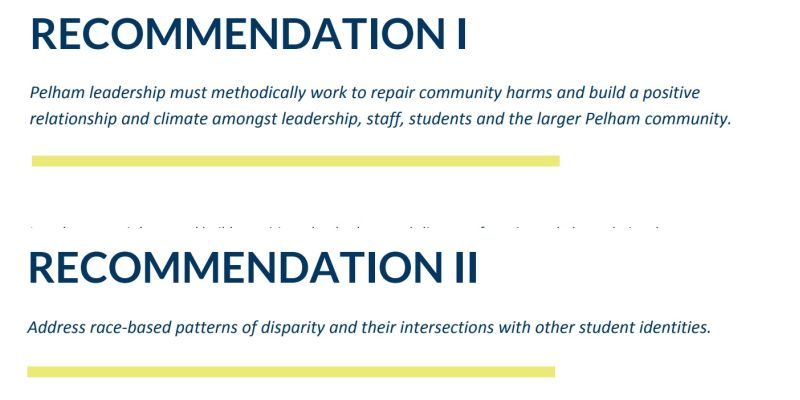 The first two of five major recommendations from the report on the racial equity audit done by the NYU Metropolitan Center for Research on Equity and the Transformation of Schools.