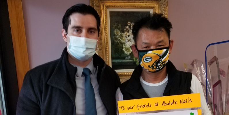 From left, Pelham Manor Det. Roberts and Daniel Kim, the owner of Absolute Nails.