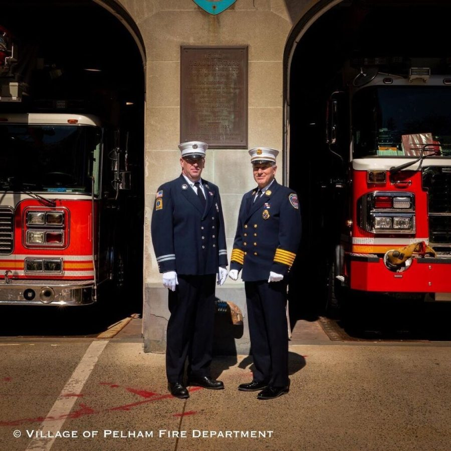 Captain Robert Benkwitt III (left) was promoted Tuesday to chief of the Pelham Fire Department, replacing retiring Chief James DiNapoli.