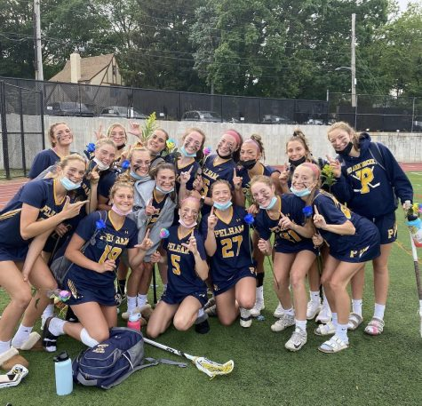 Girls lacrosse team after winning League F title.