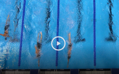 Kate Douglass touched second in the lane second from the left.
