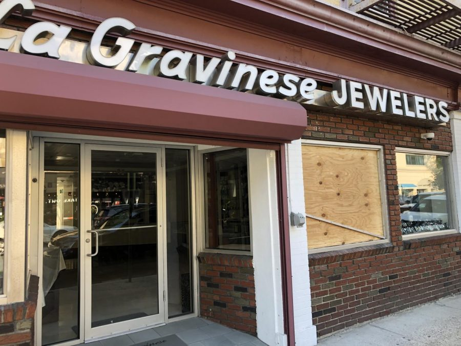 A+window+was+boarded+up+after+the+attempted+burglary+at+LeGravinese+Jewelry.+