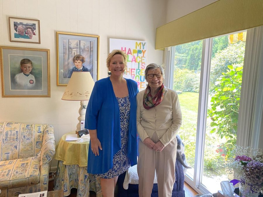 Author Margie McCartney (left) and her mother Joan, who still lives in Pelham Manor.
