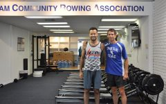 Gene Sobol (left) and Chris Calimano after 32 continuous hours of erging.