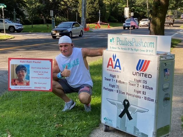 Paulie Veneto stopped in Pelham Manor on his 200-mile journey to Ground Zero.