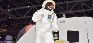 Robbie Shepherd space suited up at Advanced Space Academy.